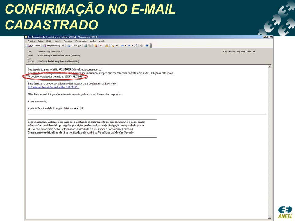 CONFIRMAÇÃO NO E-MAIL CADASTRADO