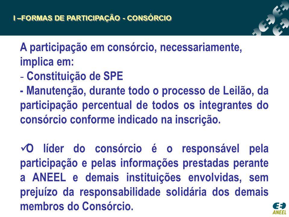 I –FORMAS DE PARTICIPAÇÃO - CONSÓRCIO A participação em consórcio, necessariamente, implica em: - Constituição de SPE - Manutenção, durante todo o processo de Leilão, da participação percentual de todos os integrantes do consórcio conforme indicado na inscrição.