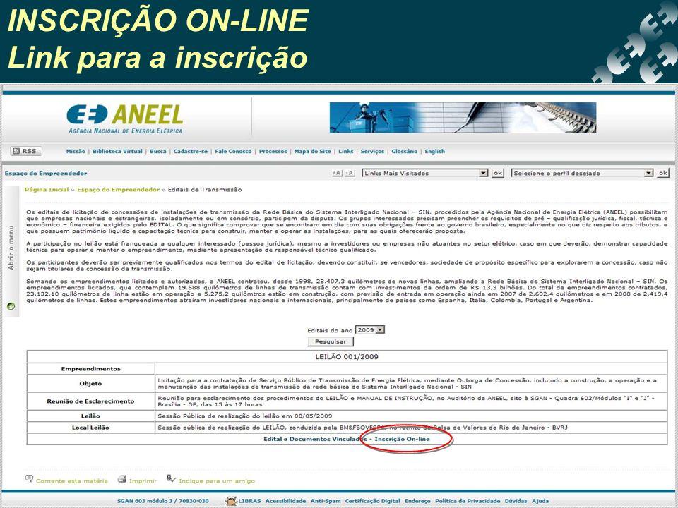INSCRIÇÃO ON-LINE Link para a inscrição