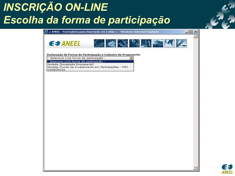 INSCRIÇÃO ON-LINE Escolha da forma de participação