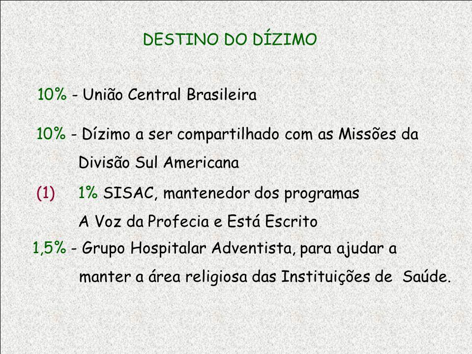 DESTINO DO DÍZIMO 10% - União Central Brasileira 10% - Dízimo a ser compartilhado com as Missões da Divisão Sul Americana (1) 1% SISAC, mantenedor dos