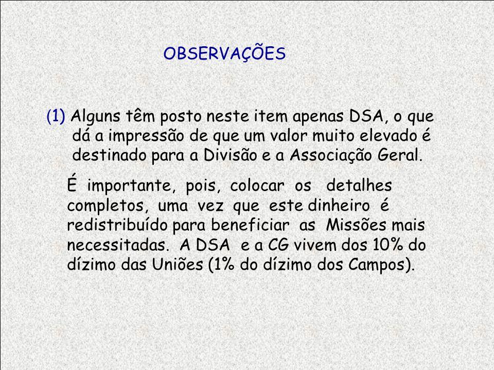 OBSERVAÇÕES ( 1) Alguns têm posto neste item apenas DSA, o que dá a impressão de que um valor muito elevado é destinado para a Divisão e a Associação