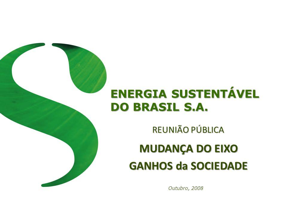 ENERGIA SUSTENTÁVEL DO BRASIL S.A. REUNIÃO PÚBLICA Outubro, 2008 MUDANÇA DO EIXO GANHOS da SOCIEDADE