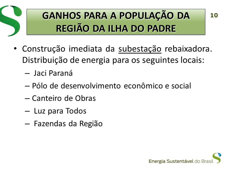 10 Construção imediata da subestação rebaixadora. Distribuição de energia para os seguintes locais: – Jaci Paraná – Pólo de desenvolvimento econômico
