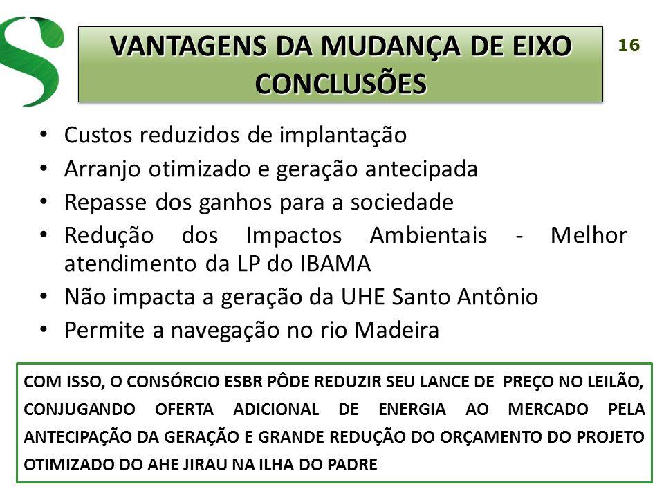 16 Custos reduzidos de implantação Arranjo otimizado e geração antecipada Repasse dos ganhos para a sociedade Redução dos Impactos Ambientais - Melhor