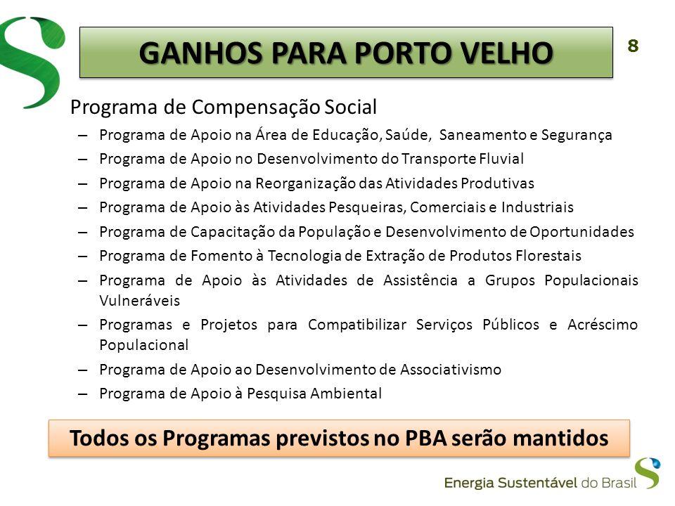 8 Programa de Compensação Social – Programa de Apoio na Área de Educação, Saúde, Saneamento e Segurança – Programa de Apoio no Desenvolvimento do Tran