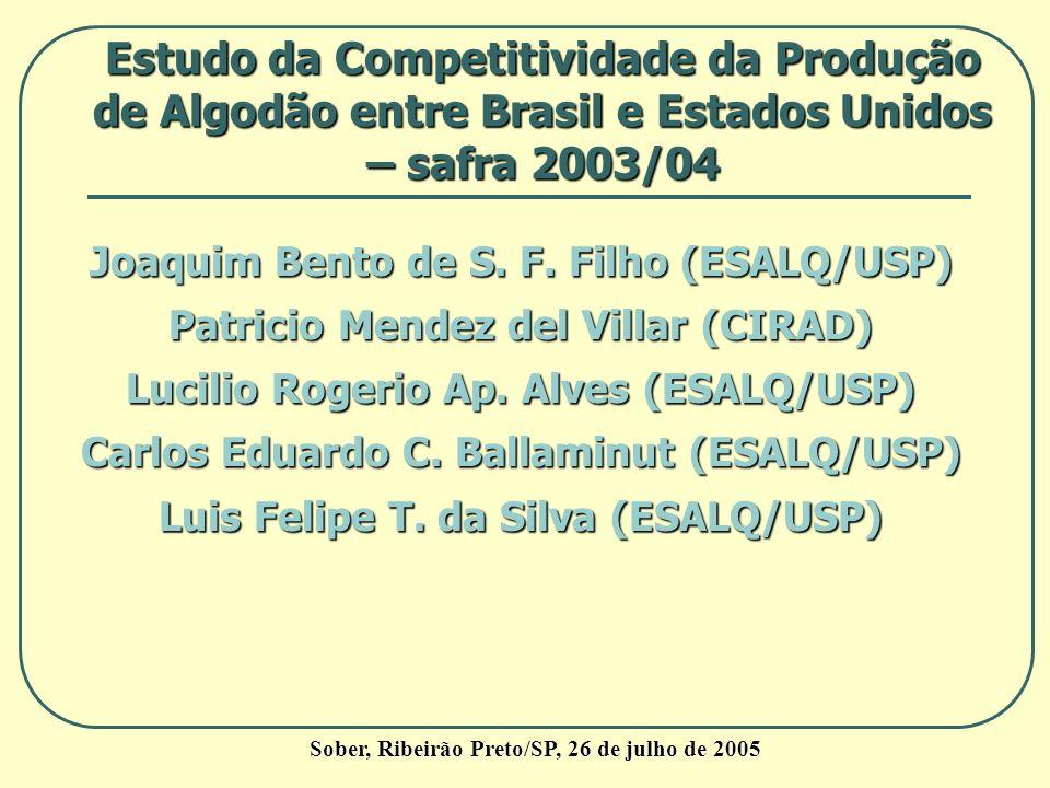Estudo da Competitividade da Produção de Algodão entre Brasil e Estados Unidos – safra 2003/04 Sober, Ribeirão Preto/SP, 26 de julho de 2005 Joaquim B