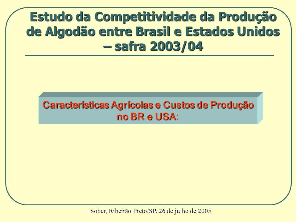 Características Agrícolas e Custos de Produção no BR e USA no BR e USA: Estudo da Competitividade da Produção de Algodão entre Brasil e Estados Unidos