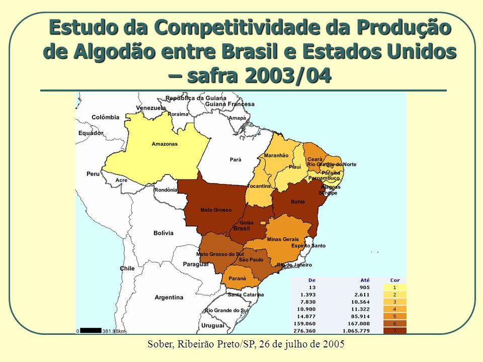 Estudo da Competitividade da Produção de Algodão entre Brasil e Estados Unidos – safra 2003/04 Sober, Ribeirão Preto/SP, 26 de julho de 2005