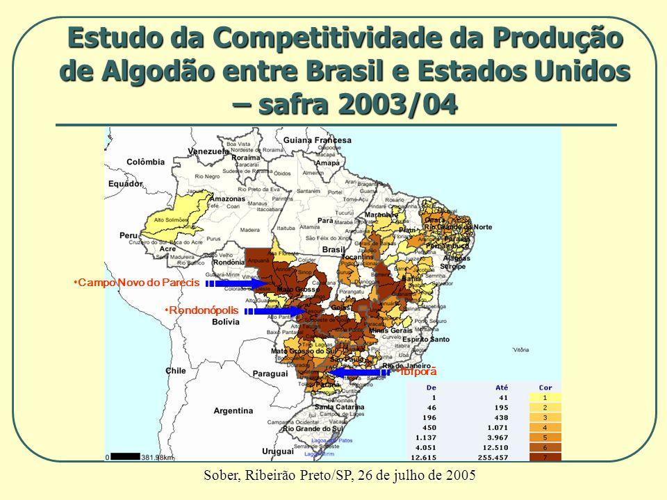 Campo Novo do Parecis Rondonópolis Ibiporã Estudo da Competitividade da Produção de Algodão entre Brasil e Estados Unidos – safra 2003/04 Sober, Ribei