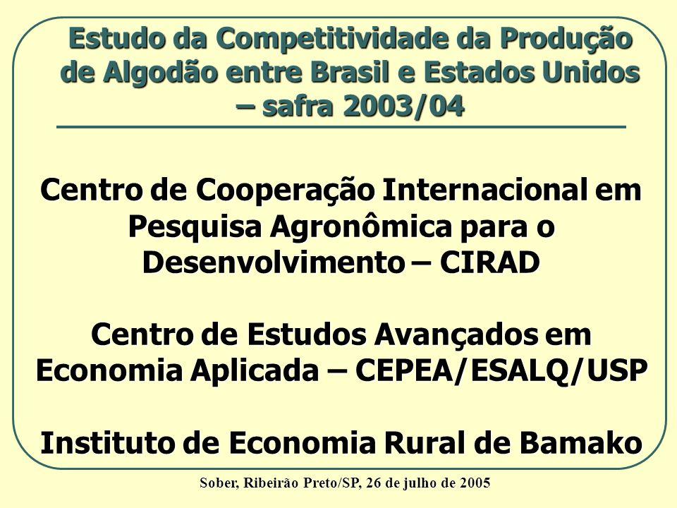Sober, Ribeirão Preto/SP, 26 de julho de 2005 Estudo da Competitividade da Produção de Algodão entre Brasil e Estados Unidos – safra 2003/04 Centro de
