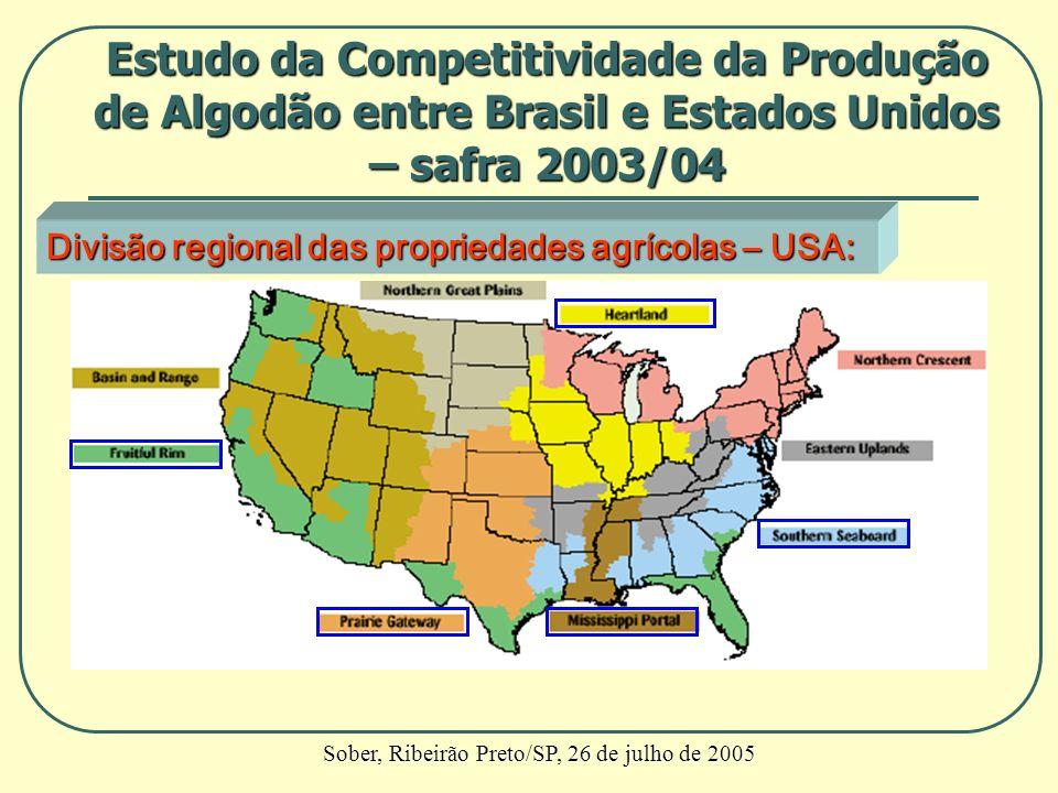 Divisão regional das propriedades agrícolas – USA: Estudo da Competitividade da Produção de Algodão entre Brasil e Estados Unidos – safra 2003/04 Sobe