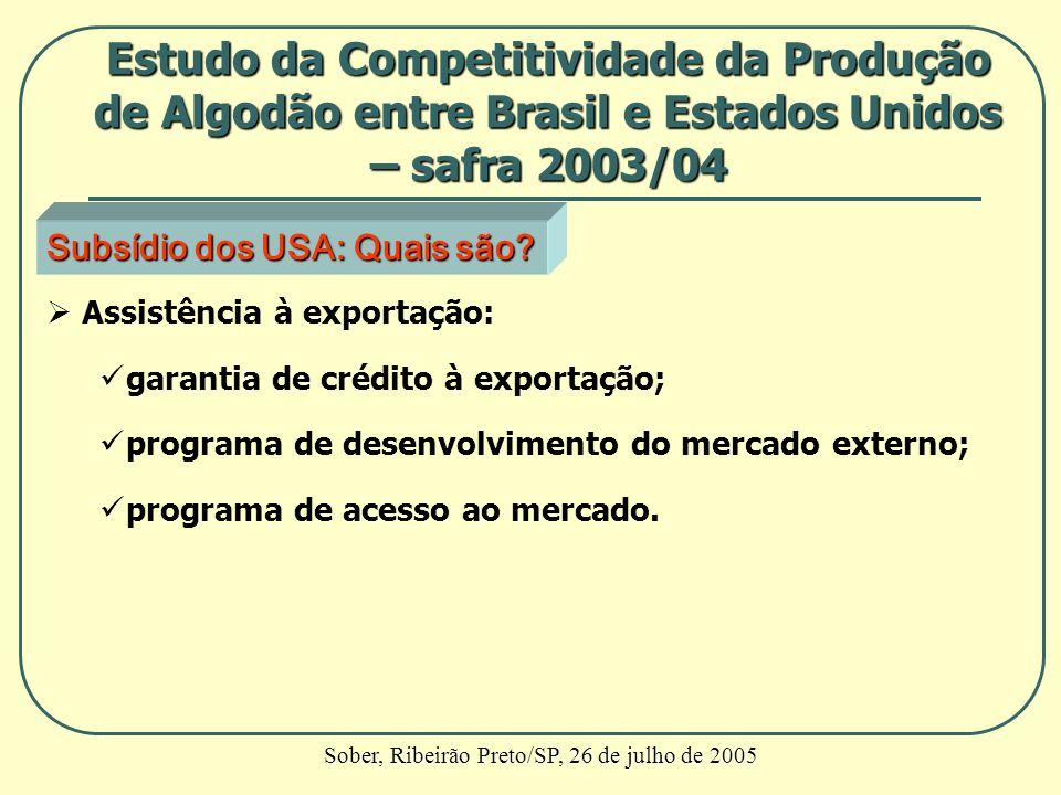 Subsídio dos USA: Quais são? Assistência à exportação: garantia de crédito à exportação; programa de desenvolvimento do mercado externo; programa de a