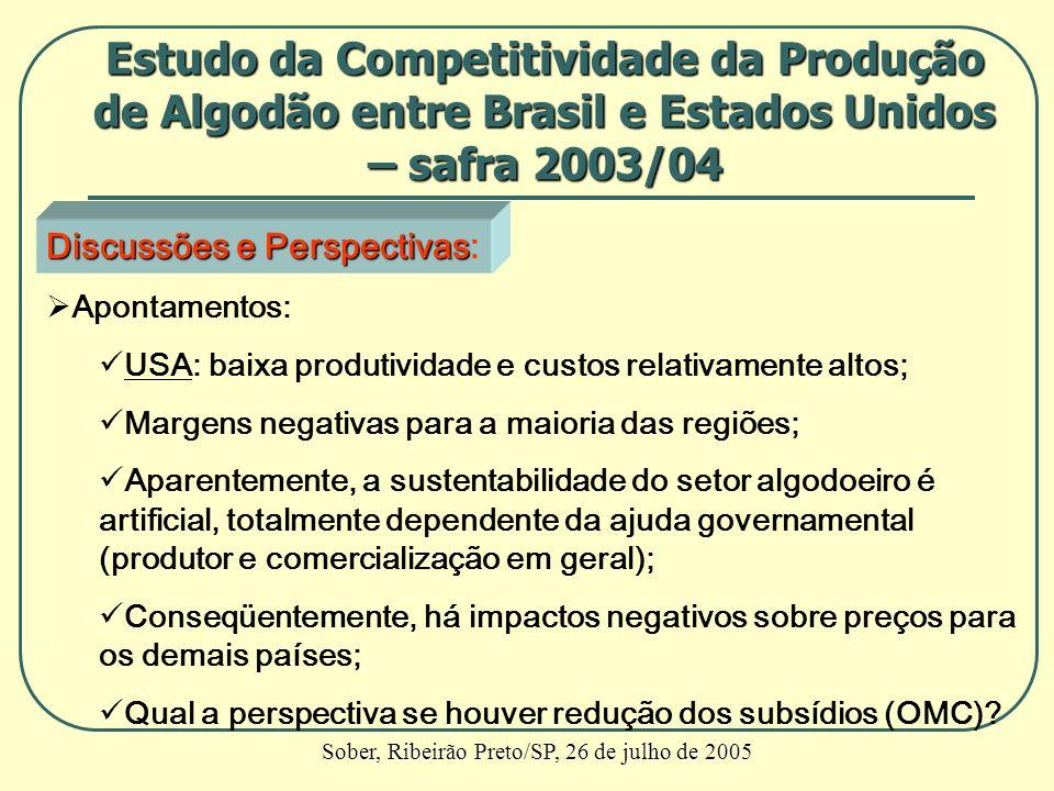 Discussões e Perspectivas Discussões e Perspectivas: Apontamentos: USA: baixa produtividade e custos relativamente altos; Margens negativas para a mai