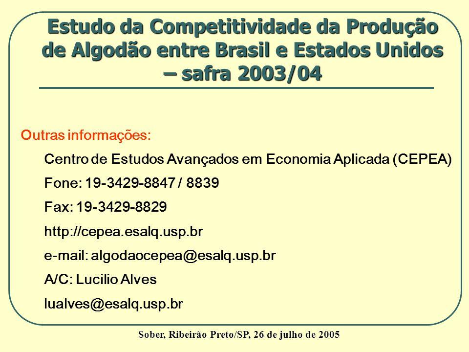 Outras informações: Centro de Estudos Avançados em Economia Aplicada (CEPEA) Fone: 19-3429-8847 / 8839 Fax: 19-3429-8829 http://cepea.esalq.usp.br e-m