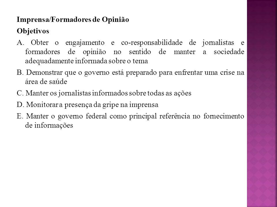Ações 1.Capacitar jornalistas e formadores de opinião sobre o assunto.
