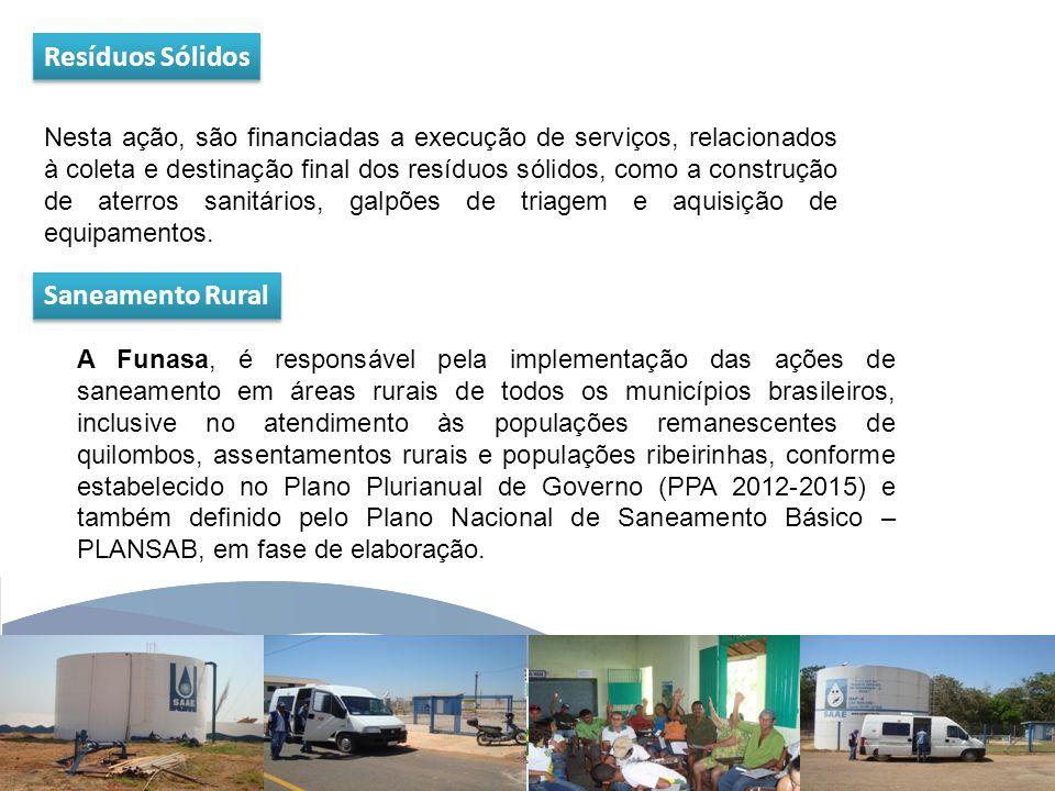 www.funasa.gov.br www.facebook.com/funasa.oficial twitter.com/funasa Resíduos Sólidos Nesta ação, são financiadas a execução de serviços, relacionados à coleta e destinação final dos resíduos sólidos, como a construção de aterros sanitários, galpões de triagem e aquisição de equipamentos.