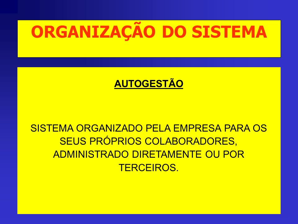 AUTOGESTÃO SISTEMA ORGANIZADO PELA EMPRESA PARA OS SEUS PRÓPRIOS COLABORADORES, ADMINISTRADO DIRETAMENTE OU POR TERCEIROS.