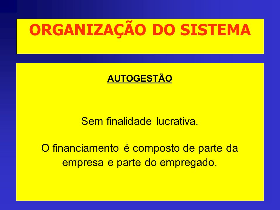 AUTOGESTÃO SISTEMA ORGANIZADO PELA EMPRESA PARA OS SEUS PRÓPRIOS COLABORADORES, ADMINISTRADO DIRETAMENTE OU POR TERCEIROS. ORGANIZAÇÃO DO SISTEMA