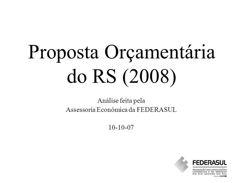 Proposta Orçamentária do RS (2008) Análise feita pela Assessoria Econômica da FEDERASUL 10-10-07