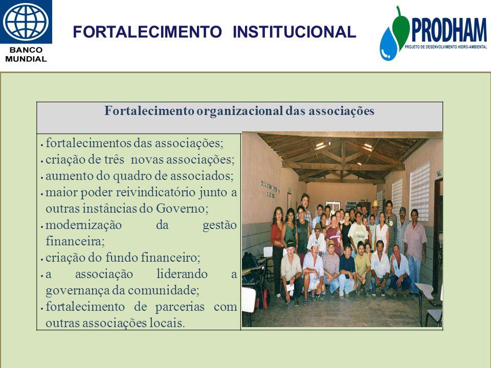 Fortalecimento organizacional das associações fortalecimentos das associações; criação de três novas associações; aumento do quadro de associados; mai