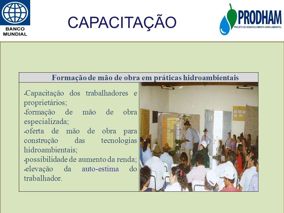 Formação de mão de obra em práticas hidroambientais Capacitação dos trabalhadores e proprietários; formação de mão de obra especializada; oferta de mã