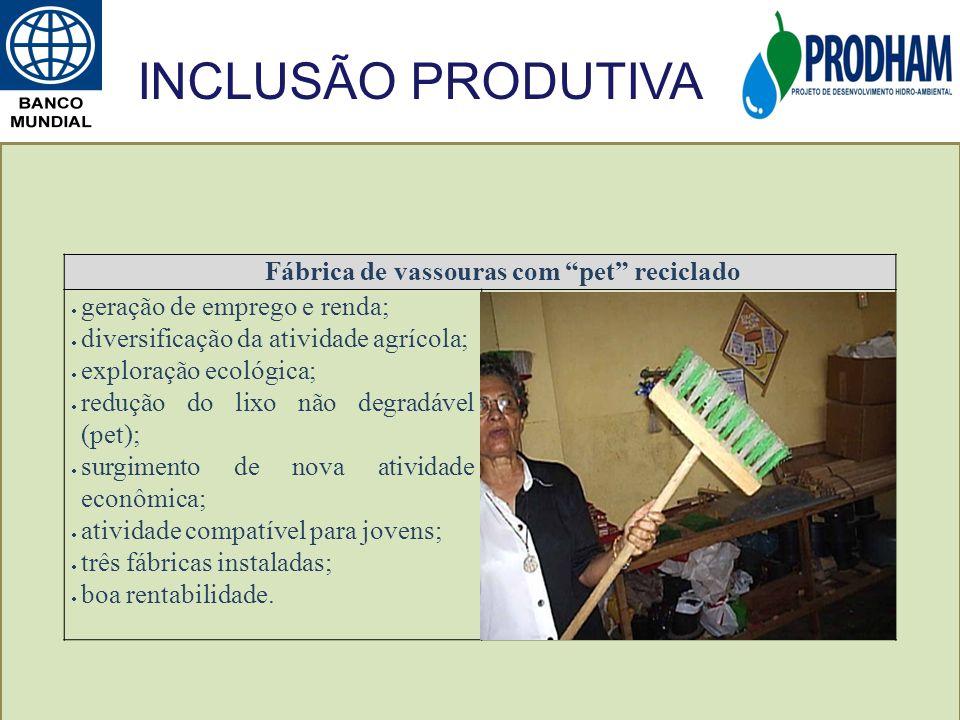 Fábrica de vassouras com pet reciclado geração de emprego e renda; diversificação da atividade agrícola; exploração ecológica; redução do lixo não deg
