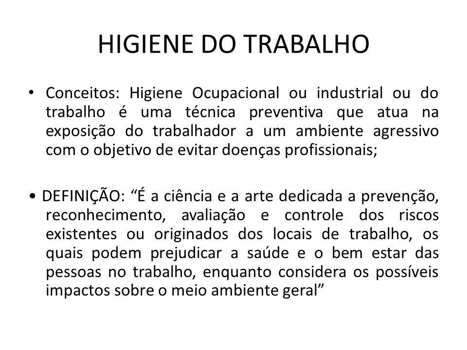 HIGIENE DO TRABALHO Conceitos: Higiene Ocupacional ou industrial ou do trabalho é uma técnica preventiva que atua na exposição do trabalhador a um amb