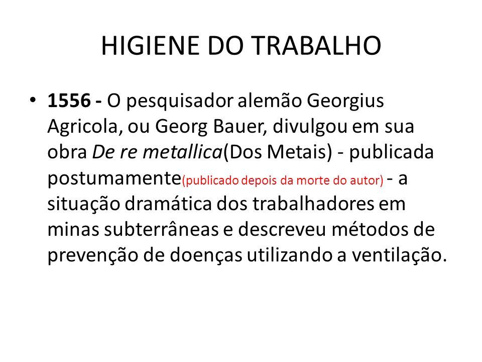 HIGIENE DO TRABALHO 1556 - O pesquisador alemão Georgius Agricola, ou Georg Bauer, divulgou em sua obra De re metallica(Dos Metais) - publicada postum