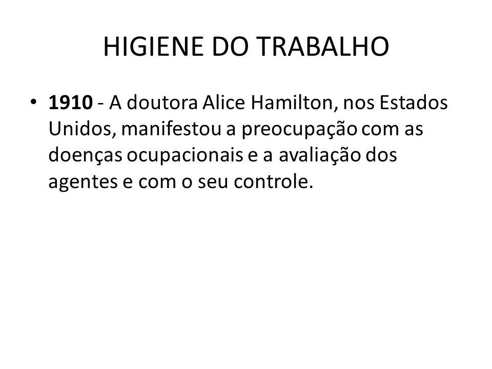 HIGIENE DO TRABALHO 1910 - A doutora Alice Hamilton, nos Estados Unidos, manifestou a preocupação com as doenças ocupacionais e a avaliação dos agente