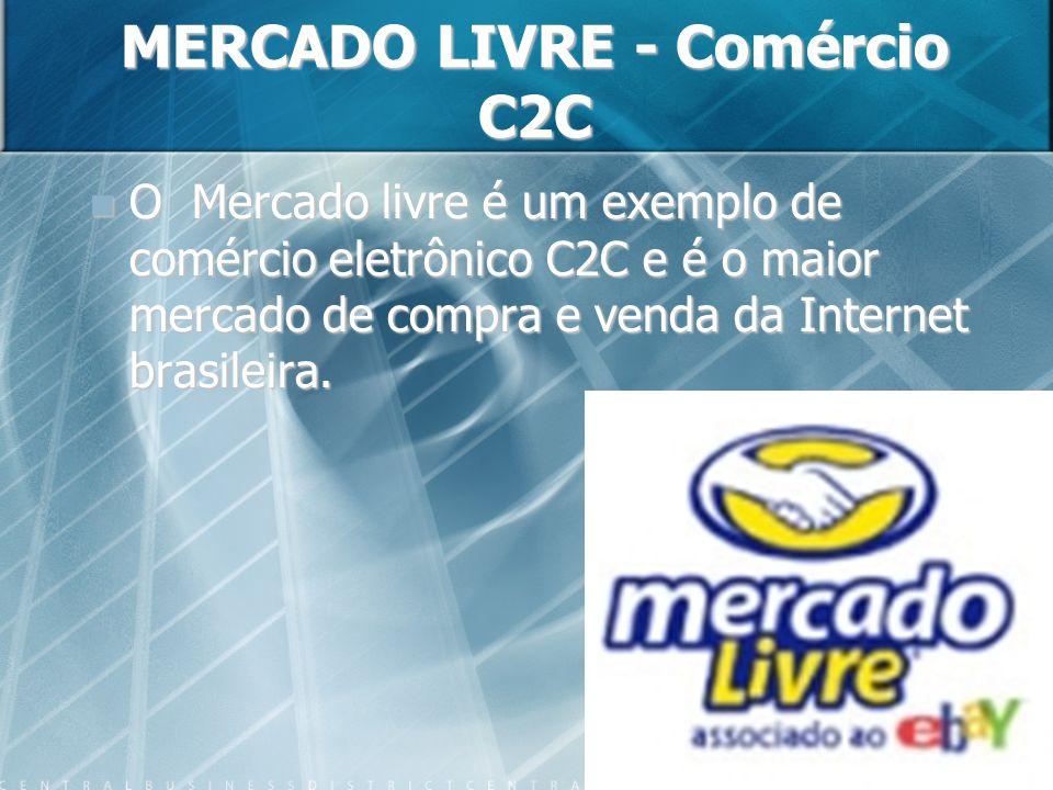 MERCADO LIVRE - Comércio C2C O Mercado livre é um exemplo de comércio eletrônico C2C e é o maior mercado de compra e venda da Internet brasileira.