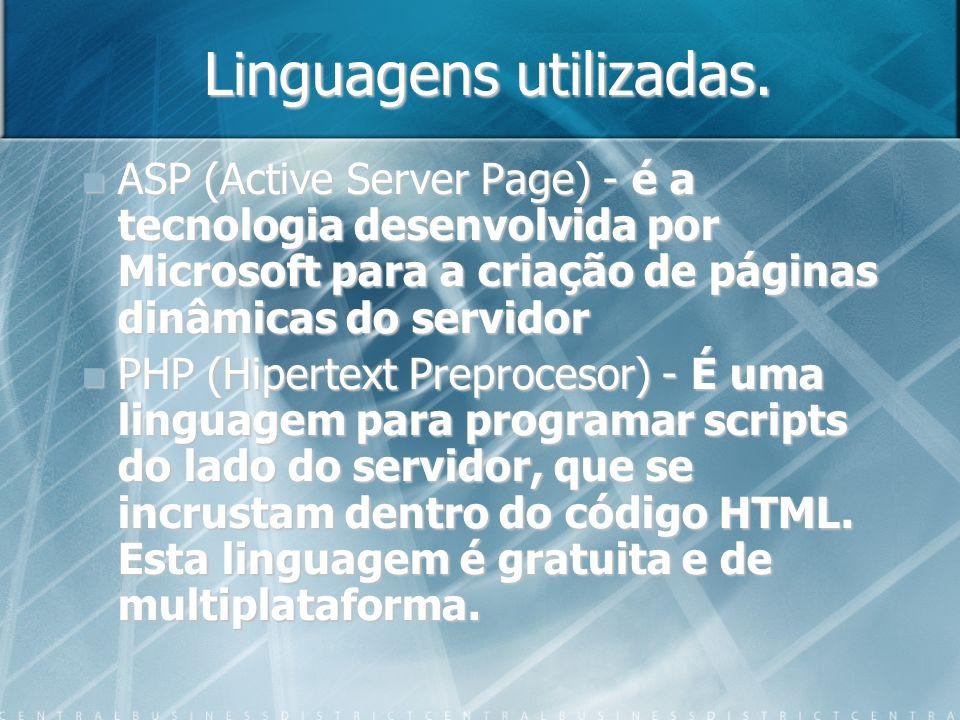Linguagens utilizadas. ASP (Active Server Page) - é a tecnologia desenvolvida por Microsoft para a criação de páginas dinâmicas do servidor PHP (Hiper