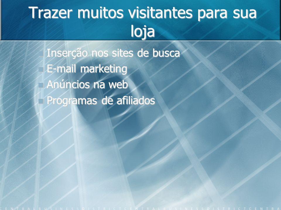 Trazer muitos visitantes para sua loja Inserção nos sites de busca E-mail marketing Anúncios na web Programas de afiliados