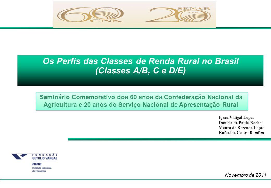 Os Perfis das Classes de Renda Rural no Brasil (Classes A/B, C e D/E) Novembro de 2011 Ignez Vidigal Lopes Daniela de Paula Rocha Mauro de Rezende Lop