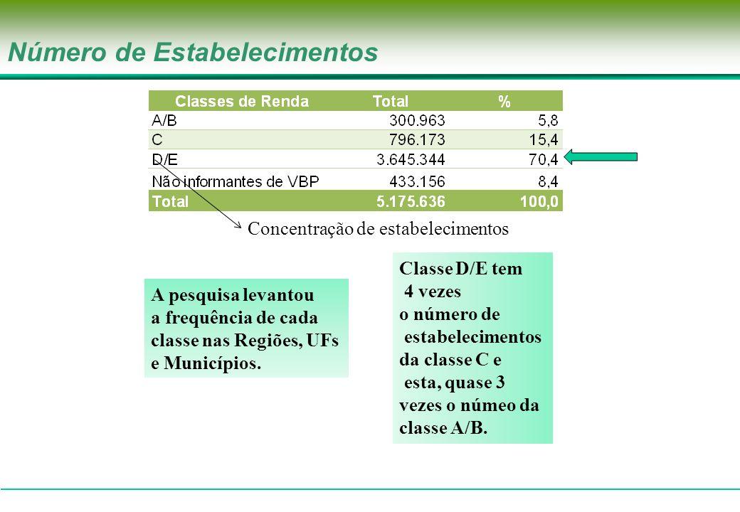 Número de Estabelecimentos e Valor Bruto da Produção(%) 7,6% do VBP 78,8% do VBP 13,6% do VBP Poucos estabelecimentos são responsáveis por parcela elevada da produção Classe A/B gera 5 vezes a contribuição da classe C e esta, quase 2 vezes a contribuição da classe D/E