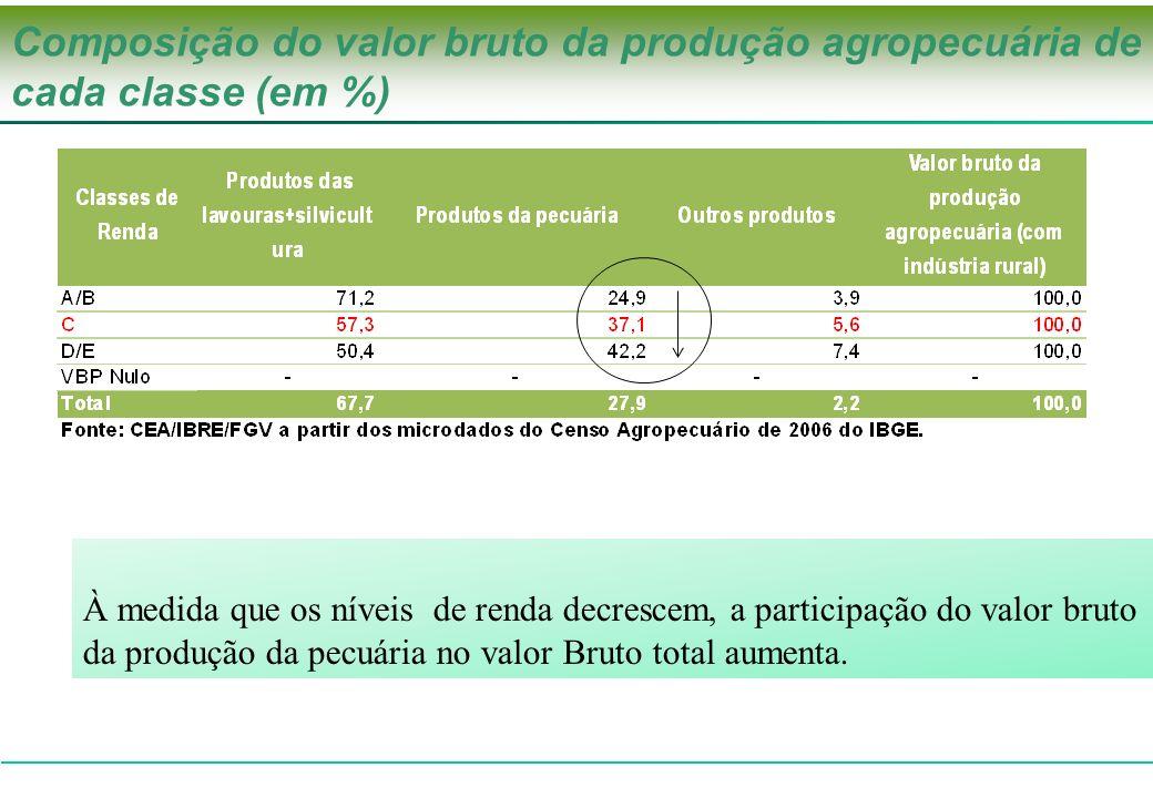 Composição do valor bruto da produção agropecuária de cada classe (em %) À medida que os níveis de renda decrescem, a participação do valor bruto da p