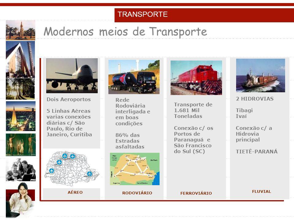 TRANSPORTE Modernos meios de Transporte Dois Aeroportos 5 Linhas Aéreas varias conexões diárias c/ São Paulo, Rio de Janeiro, Curitiba AÉREO Rede Rodoviária interligada e em boas condições 86% das Estradas asfaltadas Transporte de 1.681 Mil Toneladas Conexão c/ os Portos de Paranaguá e São Francisco do Sul (SC) 2 HIDROVIAS Tibagi Ivaí Conexão c/ a Hidrovia principal TIETÊ-PARANÁ RODOVIÁRIO FERROVIÁRIO FLUVIAL