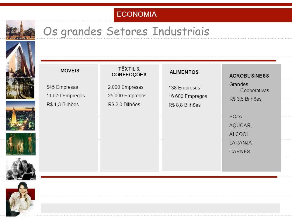 Os grandes Setores Industriais MÓVEIS TÊXTIL & CONFECÇÕES ALIMENTOS 545 Empresas 11.570 Empregos R$ 1,3 Bilhões 2.000 Empresas 25.000 Empregos R$ 2,0