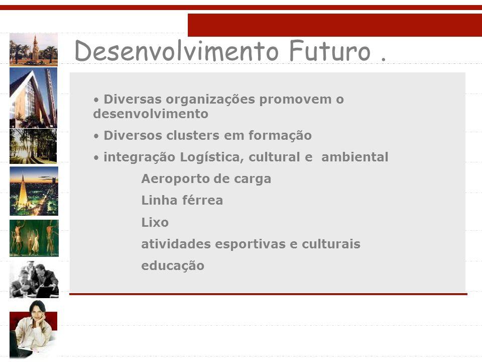 Desenvolvimento Futuro. Diversas organizações promovem o desenvolvimento Diversos clusters em formação integração Logística, cultural e ambiental Aero