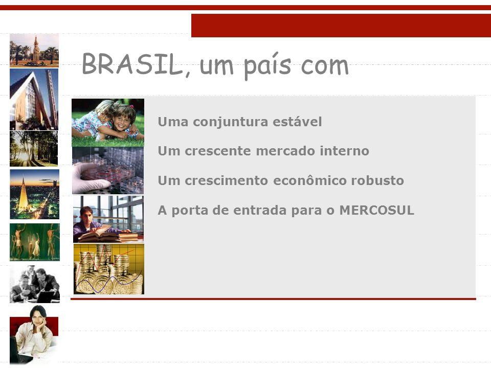 BRASIL, um país com Uma conjuntura estável Um crescente mercado interno Um crescimento econômico robusto A porta de entrada para o MERCOSUL