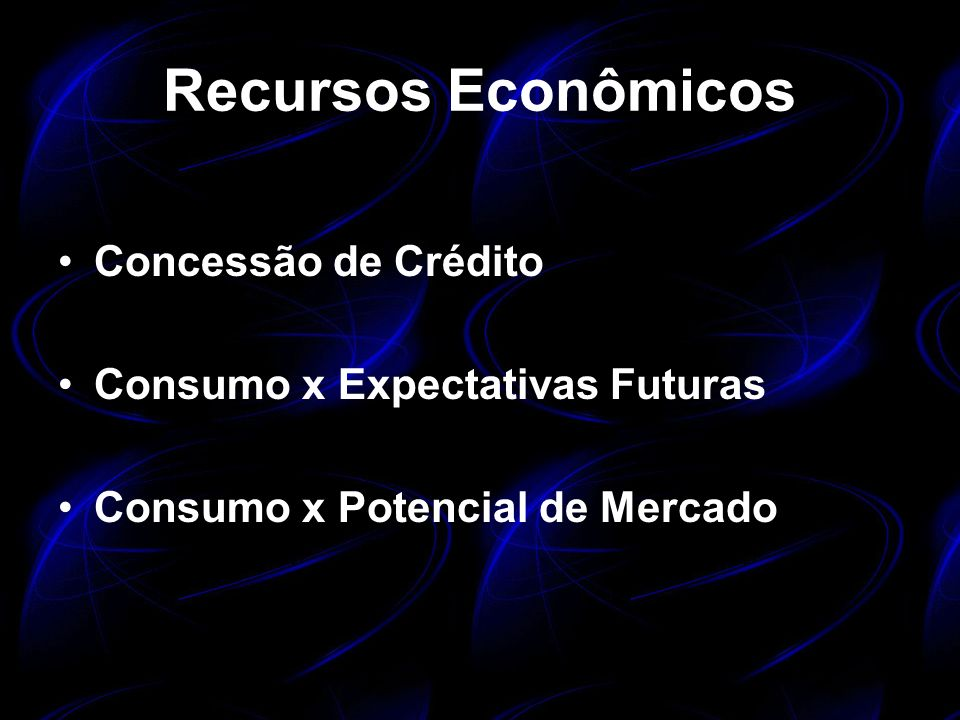Recursos Econômicos Concessão de Crédito Consumo x Expectativas Futuras Consumo x Potencial de Mercado