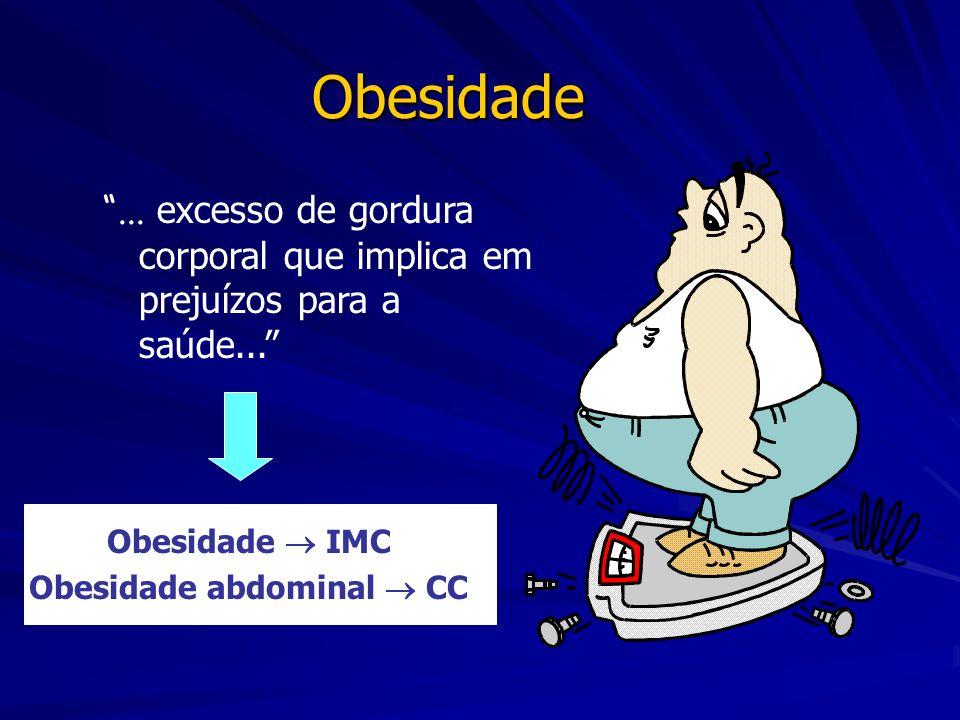 Obesidade... excesso de gordura corporal que implica em prejuízos para a saúde... Obesidade IMC Obesidade abdominal CC