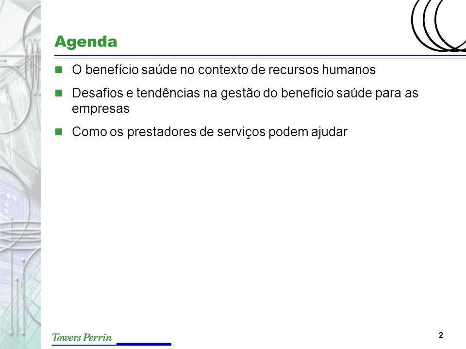 2 Agenda n O benefício saúde no contexto de recursos humanos n Desafios e tendências na gestão do beneficio saúde para as empresas n Como os prestador