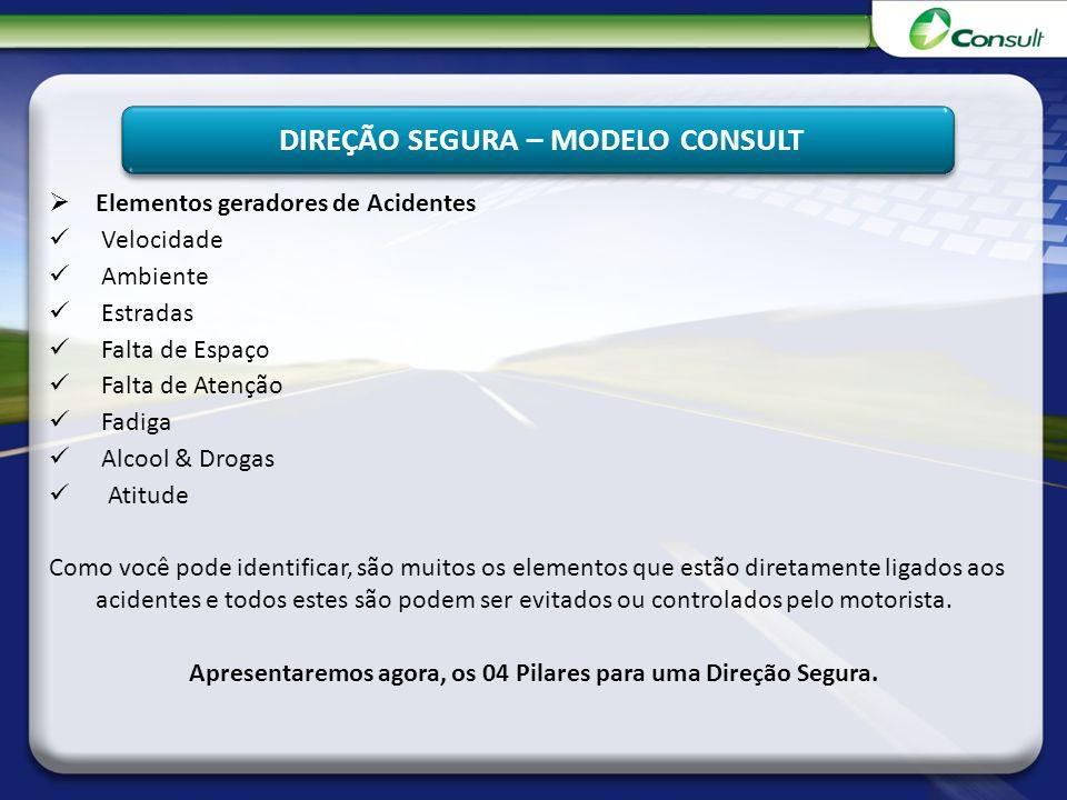 DIREÇÃO SEGURA – MODELO CONSULT Elementos geradores de Acidentes Velocidade Ambiente Estradas Falta de Espaço Falta de Atenção Fadiga Alcool & Drogas