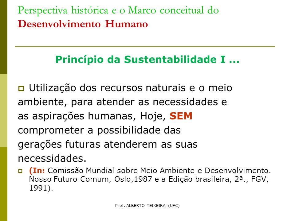 Perspectiva histórica e o Marco conceitual do Desenvolvimento Humano Princípio da Sustentabilidade I... Utilização dos recursos naturais e o meio ambi