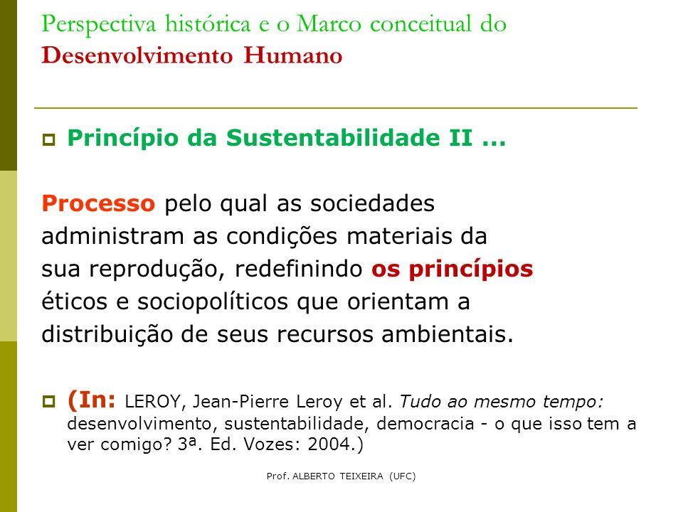 Perspectiva histórica e o Marco conceitual do Desenvolvimento Humano Princípio da Sustentabilidade II... Processo pelo qual as sociedades administram
