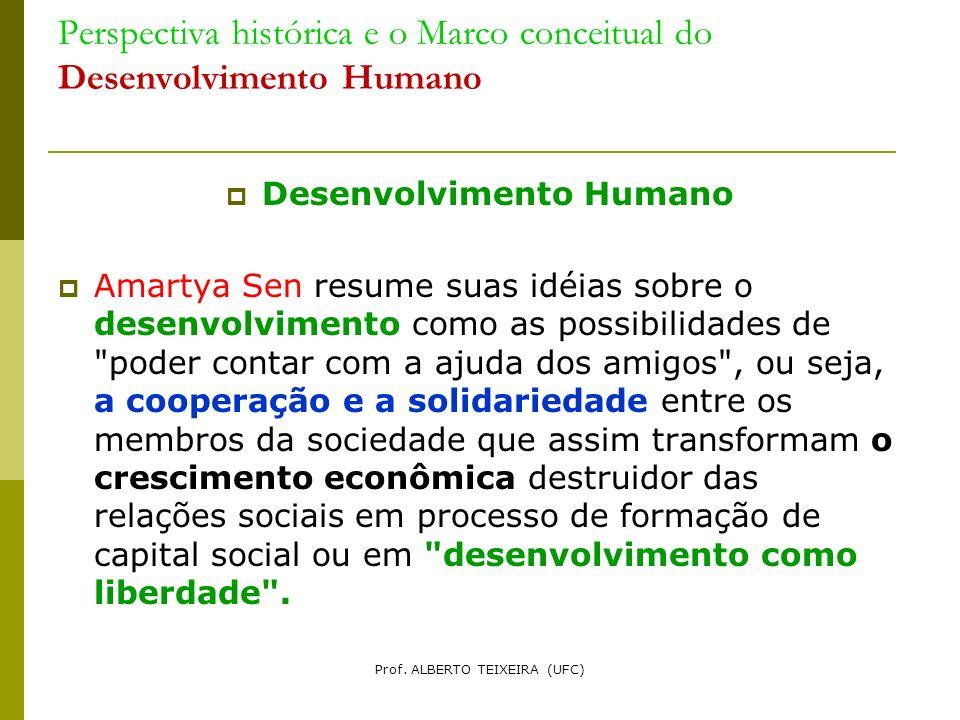 Perspectiva histórica e o Marco conceitual do Desenvolvimento Humano Desenvolvimento Humano Amartya Sen resume suas idéias sobre o desenvolvimento com