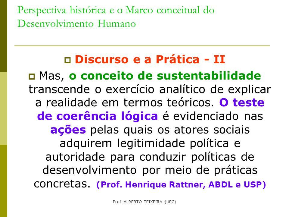 Perspectiva histórica e o Marco conceitual do Desenvolvimento Humano Discurso e a Prática - II Mas, o conceito de sustentabilidade transcende o exercí