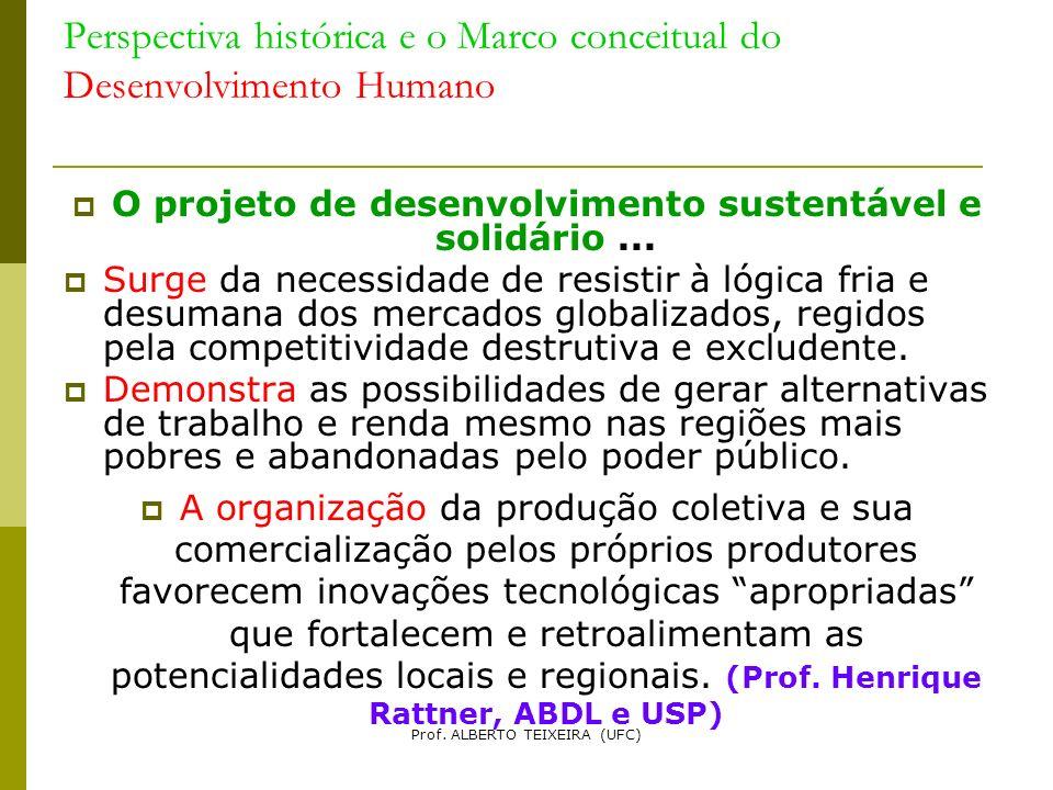 Perspectiva histórica e o Marco conceitual do Desenvolvimento Humano O projeto de desenvolvimento sustentável e solidário... Surge da necessidade de r