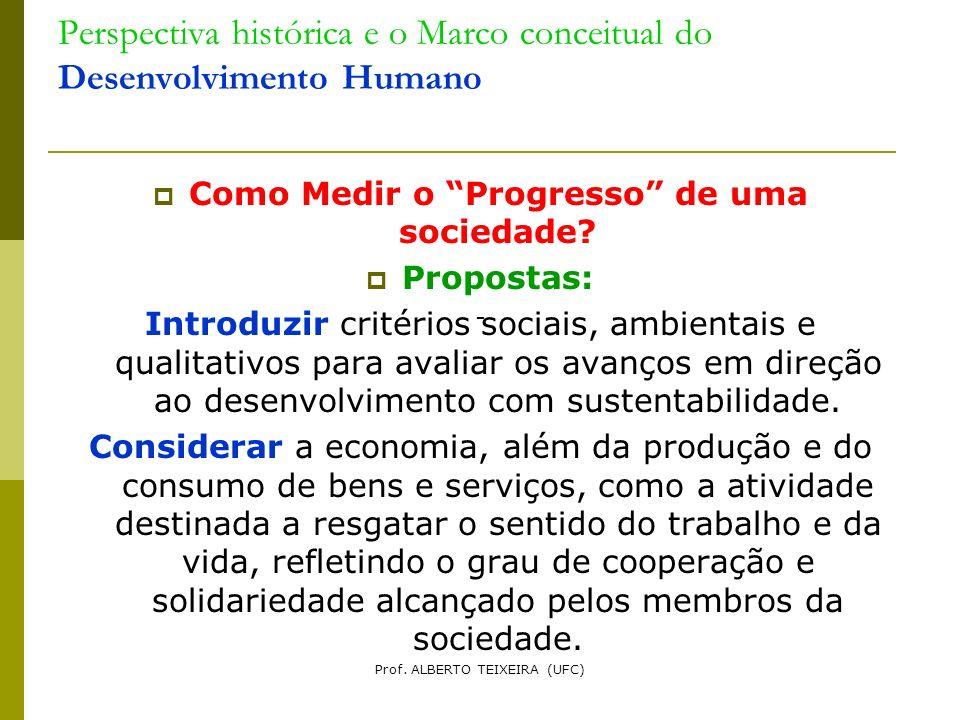 Perspectiva histórica e o Marco conceitual do Desenvolvimento Humano Como Medir o Progresso de uma sociedade? Propostas: Introduzir critérios sociais,